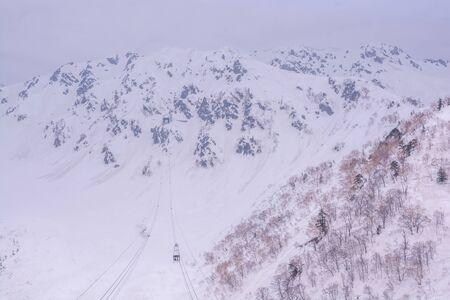 Tateyama, Japan - April 21, 2019 : Cable car at Tateyama Kurobe Alpine Route, Japan, Japanese Alp in Tateyama, Japan.
