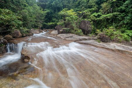beautiful waterfall in green forest river stream in jungle of Thailand