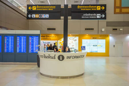 Bangkok, Thailand - April 04, 2019 : Interior with information counters in Don Mueang International Airport, Bangkok, Thailand.