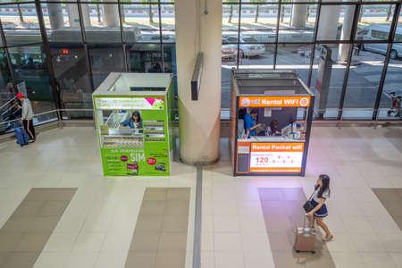 Bangkok, Thailand - April 04,2019 : Interior with passenger at arrival terminal of  Don Mueang International Airport. Publikacyjne