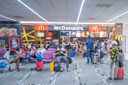 Bangkok, Thailand - April 04, 2019 : Interior retail shop at domestic departures in Don Mueang International Airport, Bangkok.