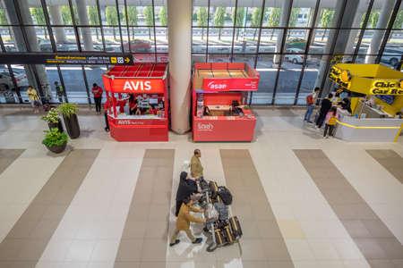 Bangkok, Thailand - April 04, 2019 : The rent a car desk at arrival terminal of  Don Mueang International Airport. Publikacyjne
