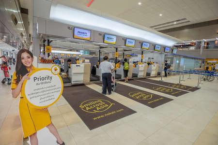 Bangkok, Thailand - April 04,2019 : Interior with passenger check in at Nok air counters in Don Mueang International Airport, Bangkok, Thailand. Publikacyjne