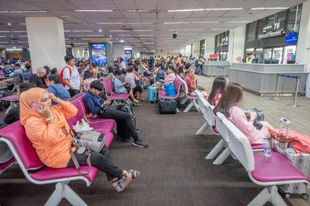 Bangkok, Thailand - April 04,2019 : Interior with passenger at domestic departures in Don Mueang International Airport, Bangkok.