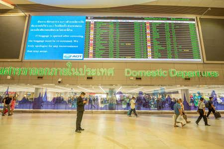 Bangkok, Thailand - April 04, 2019 : Interior with passenger at domestic departures in Don Mueang International Airport, Bangkok. Publikacyjne