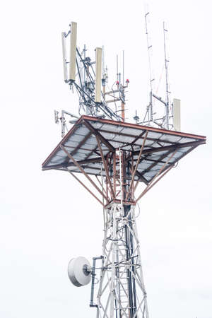 Telecommunication tower of 4G and 5G cellular on white