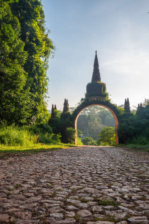 View of the temple gate at Khao Na Nai Luang Dharma Park in Surat Thani province of Thailand.