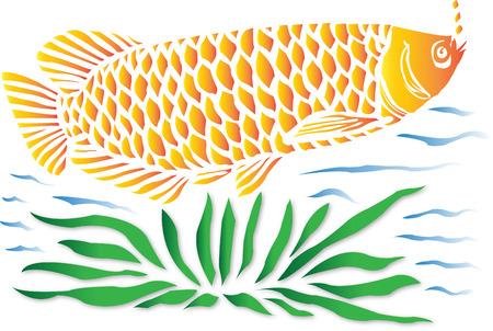 arowana: Fish In A Water Illustration