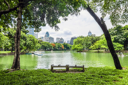 view of Lumpini Park in the Thai capital s city centre photo