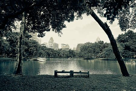 acres: BANGKOK - july 3: Lake view of Lumpini Park in the Thai capitals city centre on july 3, 2014 in Bangkok, Thailand. Lumpini Park covers 142 acres with 2.5 km of pathways and a large boating lake. Editorial