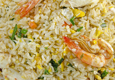 yang style: fried rice with shrimp and sea crab meat Stock Photo