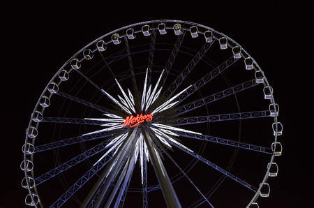 riverfront: BANGKOK - 1 May : Ferris wheel in Asiatique The Riverfront, an expansive open-air mall with river views and festival market and living museum concept. on May 1, 2015 in Bangkok, Thailand Editorial