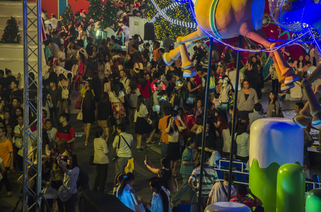 december 31: BANGKOK December 31 : Christmas and happy new year festival at central world shopping center, on december 31, 2014 in Bangkok, Thailand Editorial