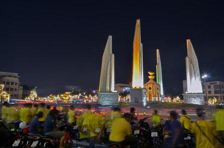 rd: BANGKOK,THAILAND - JULY 3: democracy monument close for repair, July 3, 2014 in Ratchadamnoen Rd. Bangkok,Thailand Editorial