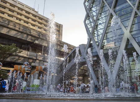 stock agency: fountain in front of Central world Plaza square in bangkok thailand on 31 December 2014 BANGKOK THAILAND