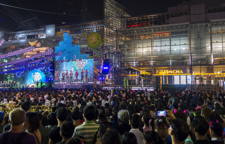 december 31: BANGKOK December 31 :people come at central world shopping center for celebrate countdown happy new year 2015, on december 31, 2014 in Bangkok, Thailand Editorial