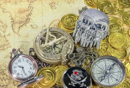 eye patch: steel pirate skull eye patch compass on a pirate golden coins