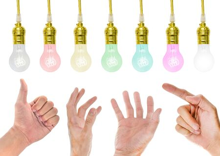 incandescent: Hand with Incandescent lamp Stock Photo