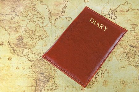 old world: mini notebook on a old world map