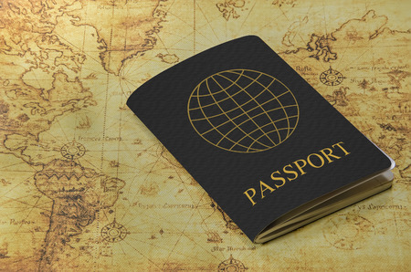 old world: passport on a old world map Stock Photo