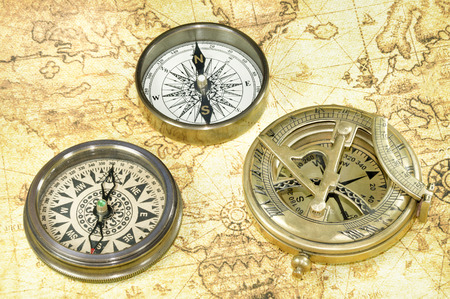 antique map: compass on a old world map