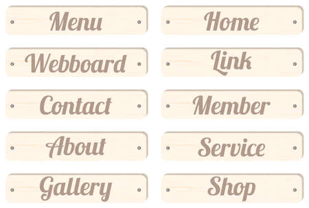 contact details: wood board menu bar with wording menu home webboard link contact member about service gallery shop for website design
