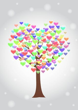 colorful heart: tree with colorful heart leaf Illustration