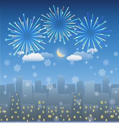 ribbin: night city background with snow and firework