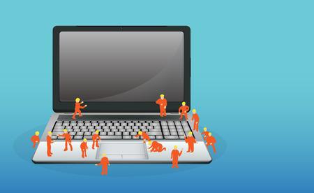 trabajando en computadora: Mini trabajador que trabaja en un ordenador port�til