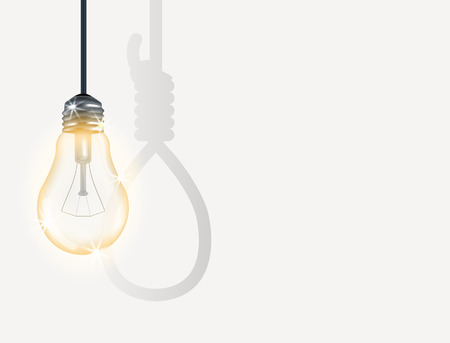 incandescent: incandescent light bulb with hanging rope