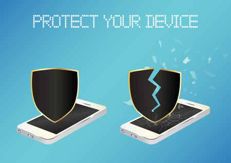 unprotected: smartphone with protected shield and broken unprotected shield Illustration