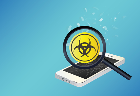 adware: smartphone device infected virus Illustration
