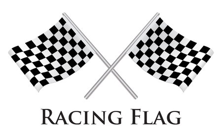 two crossed checkered flags: Racing Flag