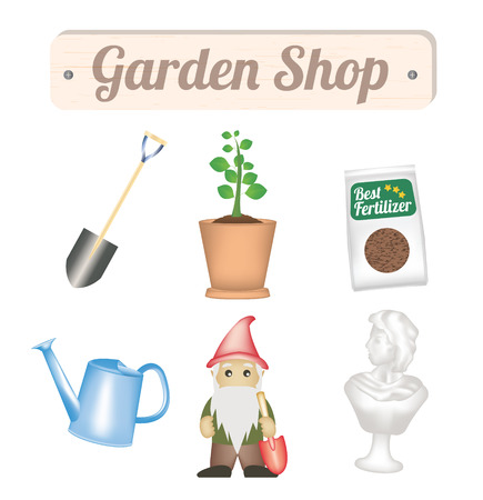 Garden shop object with shovel tree plant fertilizer watering can gnome and garden decorative statue
