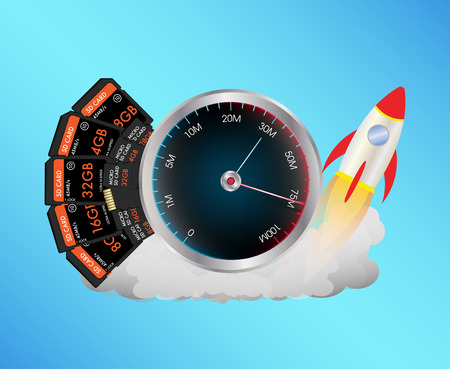 micro: SD and Micro SD memory card with speed meter and toy rocket