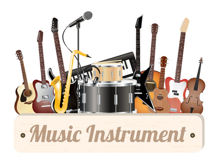 instruments: music instrument wood board with electric acoustic guitar bass drum snare violin ukulele saxophone keyboard microphone and headphone