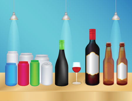 over the counter: liquor bottle and can Illustration