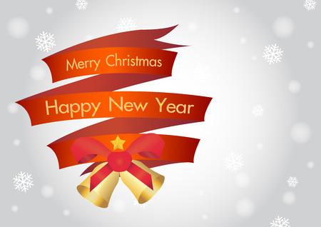 ribbin: merry christmas and happy new year ribbin with snow and light bokeh background
