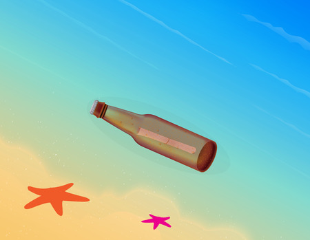 message in a bottle: Message in the bottle Illustration