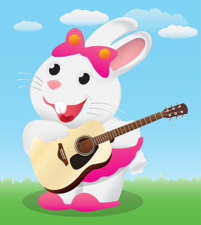 frets: Cute White cartoon bunny playing acoustic guitar