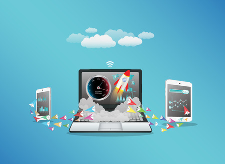 internet phone: Laptop smart phone and tablet transferring data with hi speed internet Illustration
