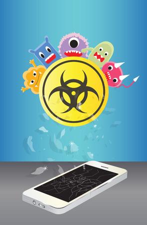 broken smartphone device infected virus