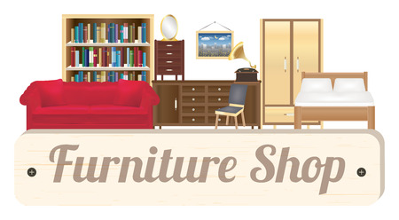 furniture shop: furniture shop wood board with sofa bookcase desk chair wardrobe and bed