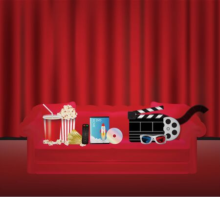 dvd box: popcorn drink remote dvd movie box 3d glass film on a Red sofa with red curtain backgrond