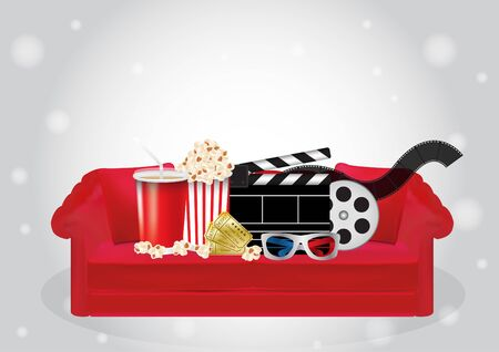 red sofa: Popcorn, drink, Movie Film, 3d Glasses and movie ticket on a red sofa Illustration