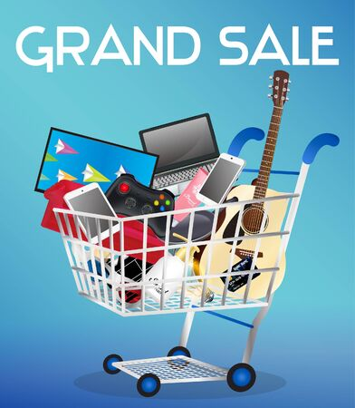cart: General object on a shopping cart Illustration