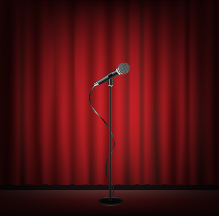 microphone stand on a stage with red curtain backgrond