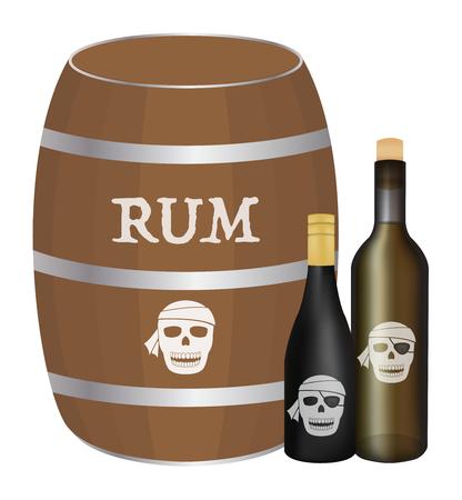 food poison: rum barrel and rum bottle Illustration
