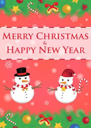ribbin: merry christmas and happy new year ribbin with snowman and snow light bokeh background