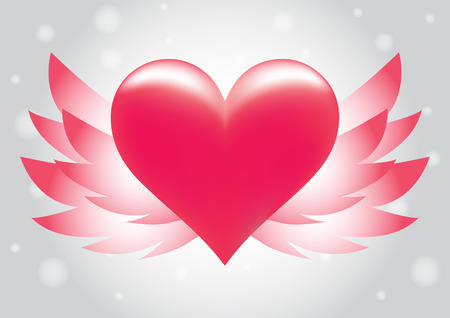 pink heart: pink heart wing vector